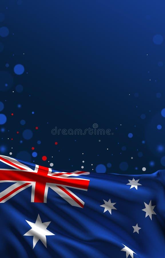 Australijczyk flaga, błękitny tło, 3D odpłaca się, royalty ilustracja