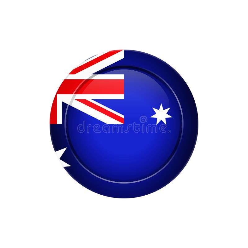 Australijczyk flaga na round guziku, ilustracja royalty ilustracja