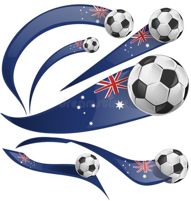 Australijczyk flaga whit piłki nożnej ustalona piłka royalty ilustracja
