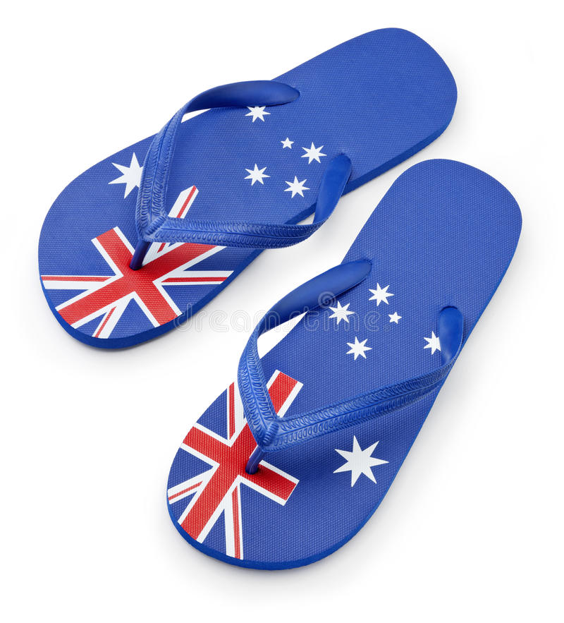australijczyka chorągwiani sandałów paski fotografia stock