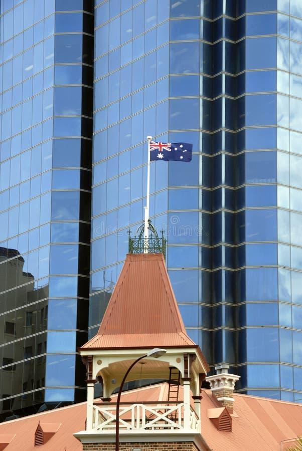 Australijczyka chorągwiany latanie na flagpole zdjęcia stock