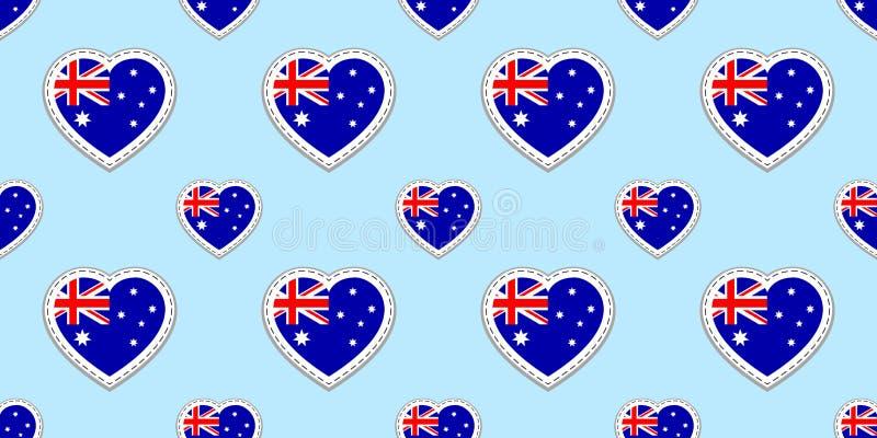 Australijczyka chorągwiany wektorowy tło Australia flaga państowowa bezszwowy wzór Wektorowe puste glansowane etykietki Miłość se ilustracji