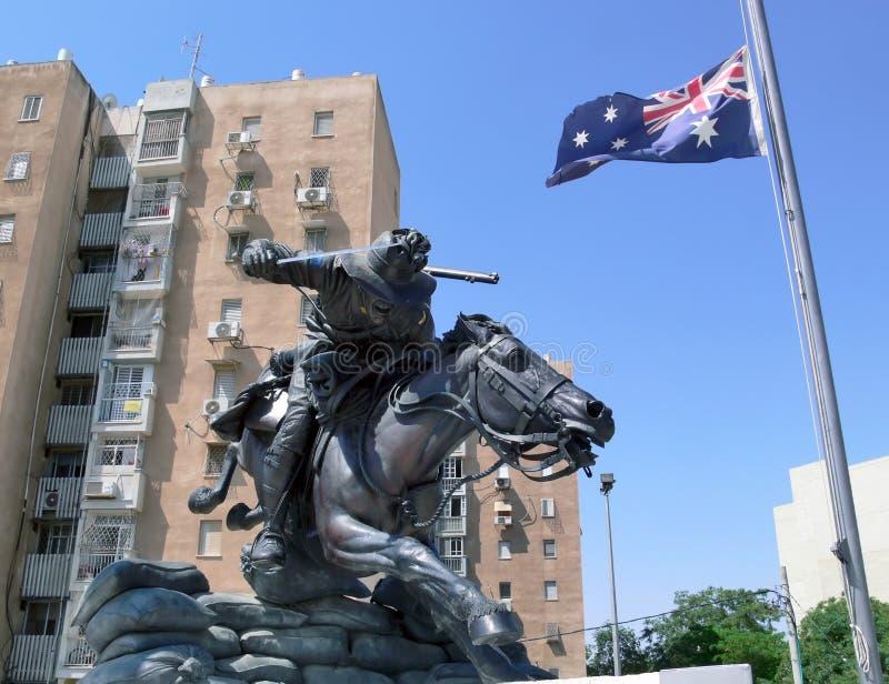 Australijscy żołnierze Pomnikowi w Beersheba, Izrael fotografia stock