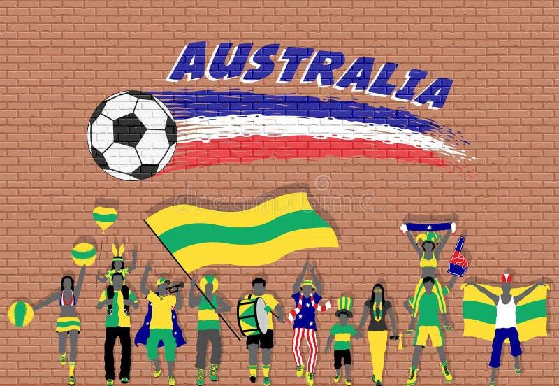 Australijscy fan piłki nożnej rozwesela z Australia flaga barwią wewnątrz ilustracja wektor