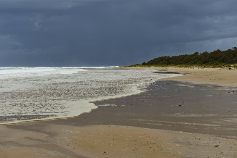 Australijscy linia brzegowa plecy plaży Hallidays punktu piaska mieszkania i burzowy ocean fotografia stock