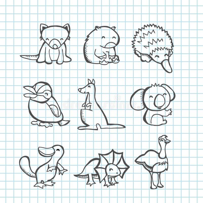 Australijscy zwierzęta Doodle Kreskową sztukę royalty ilustracja
