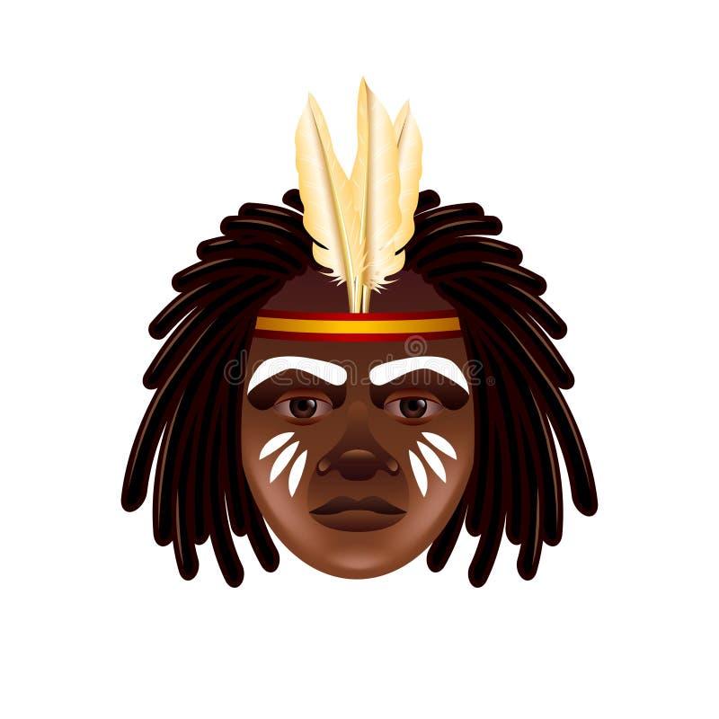 Australijska aborygen twarz odizolowywająca na białym wektorze ilustracja wektor
