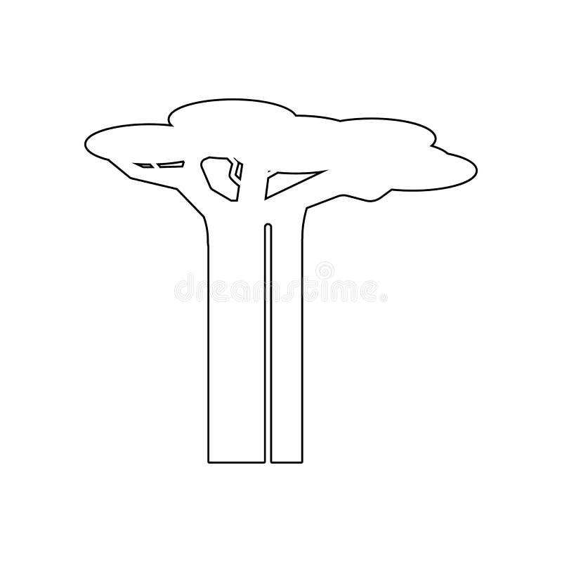 Australijska baobabu drzewa ikona Set sylwetka drzewne ikony Sieci ikon premii ilo?ci graficzny projekt Znaki, kontur?w symbole ilustracja wektor