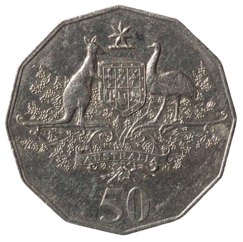 Australijska cent moneta uwypukla Australijskiego ?akiet r?ki, odosobnionego na bia?ym tle zdjęcia stock