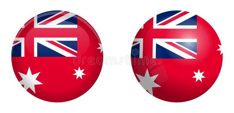 Australijska czerwona chorąży flaga pod 3d kopuły guzikiem i na glansowanej sferze, piłce/ ilustracja wektor