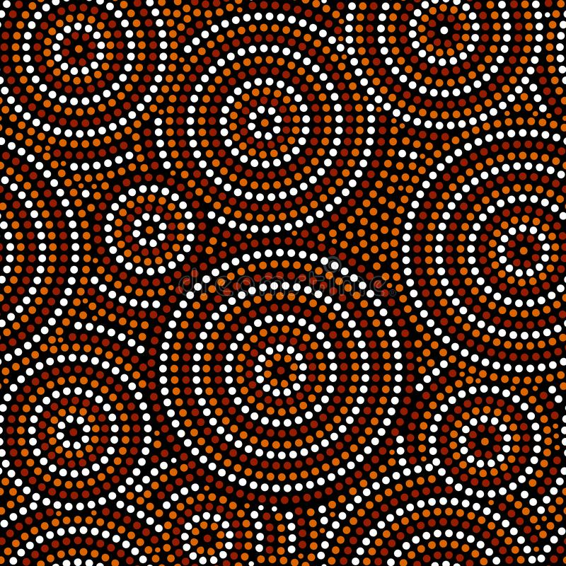 Australijska tubylcza kropki sztuka okrąża abstrakcjonistycznego geometrycznego bezszwowego wzór w brown czarny i biały, wektor ilustracji