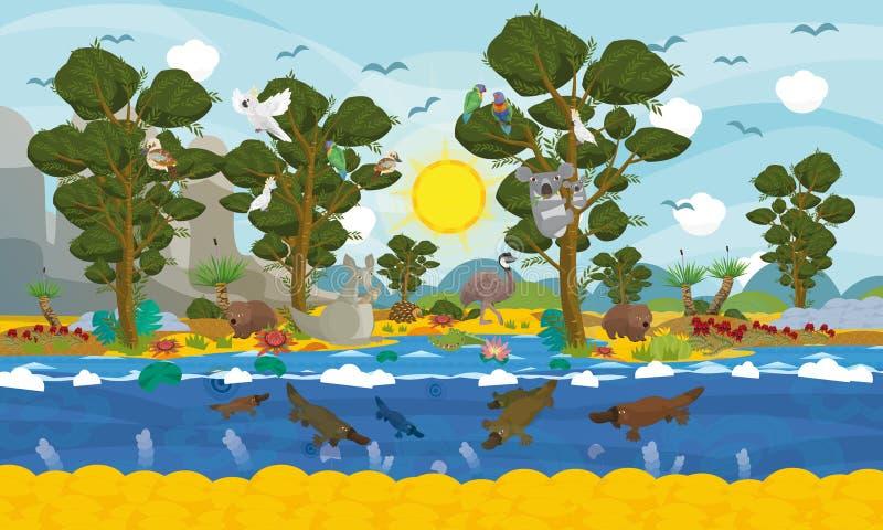 Australijska zwierzę scena ilustracji