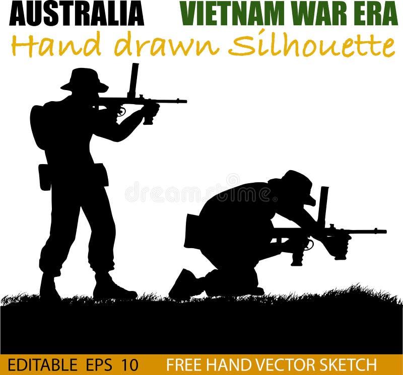 Australijski żołnierz w wojn w wietnamie sylwetkach ilustracja wektor