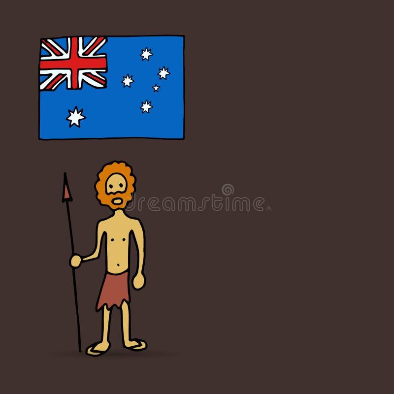 Australijski aborygen i flaga ilustracja wektor