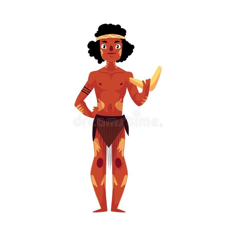 Australijski aborygen w loincloth i wojennej farby mienia bumerangu royalty ilustracja