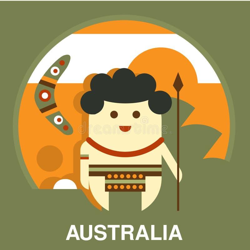 Australijski aborygen w mieszkanie stylu ilustracji