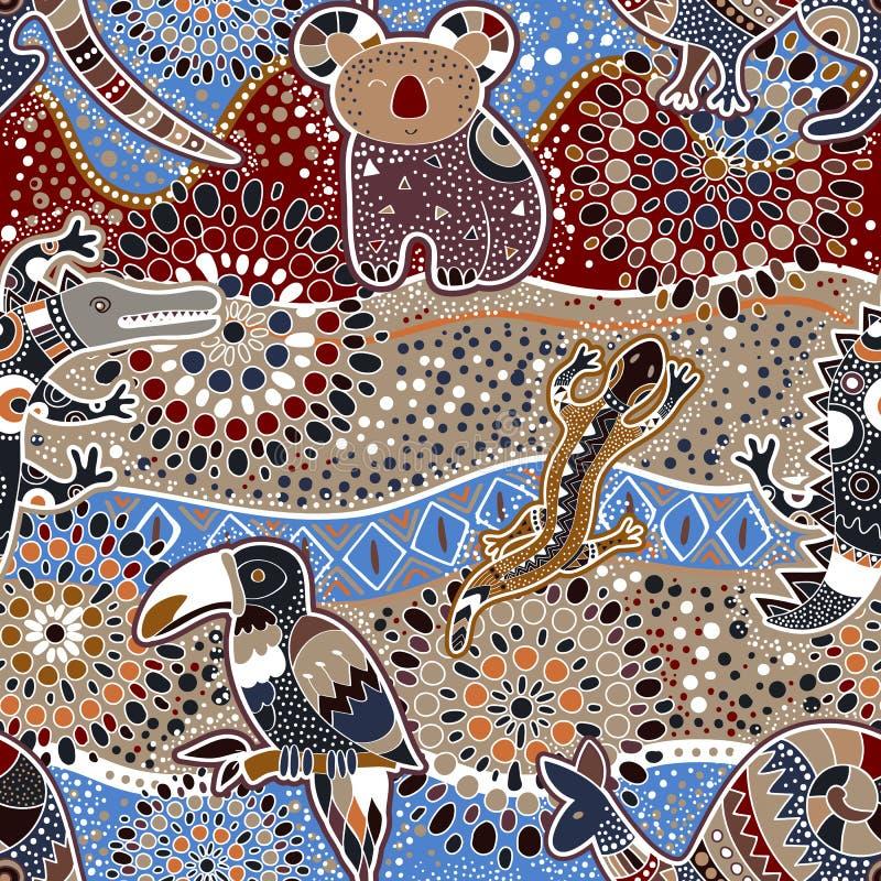 Australijski bezszwowy wzór royalty ilustracja