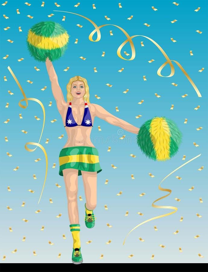 Australijski chirliderka Australia fan royalty ilustracja