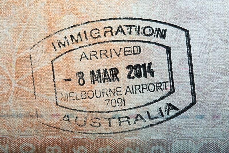 Australijski paszporta znaczek fotografia royalty free