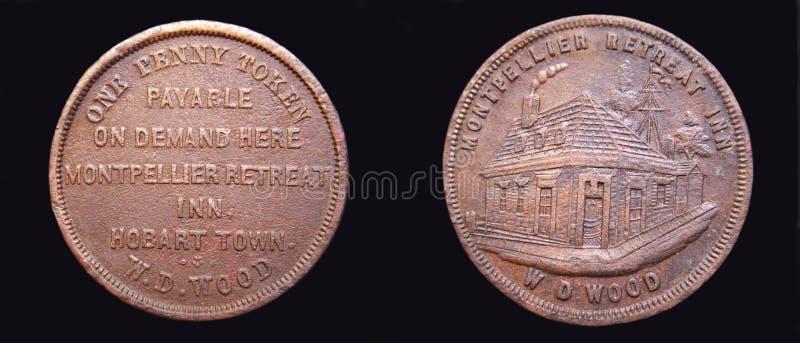 Australijski rzadki 1860 Centów Żeton W.D. DREWNO fotografia royalty free