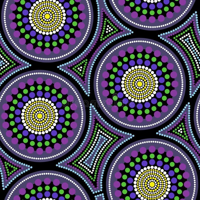 Australijski tubylczy bezszwowy wektoru wzór z kropkowanymi okręgami i zaginającymi kwadratami ilustracja wektor