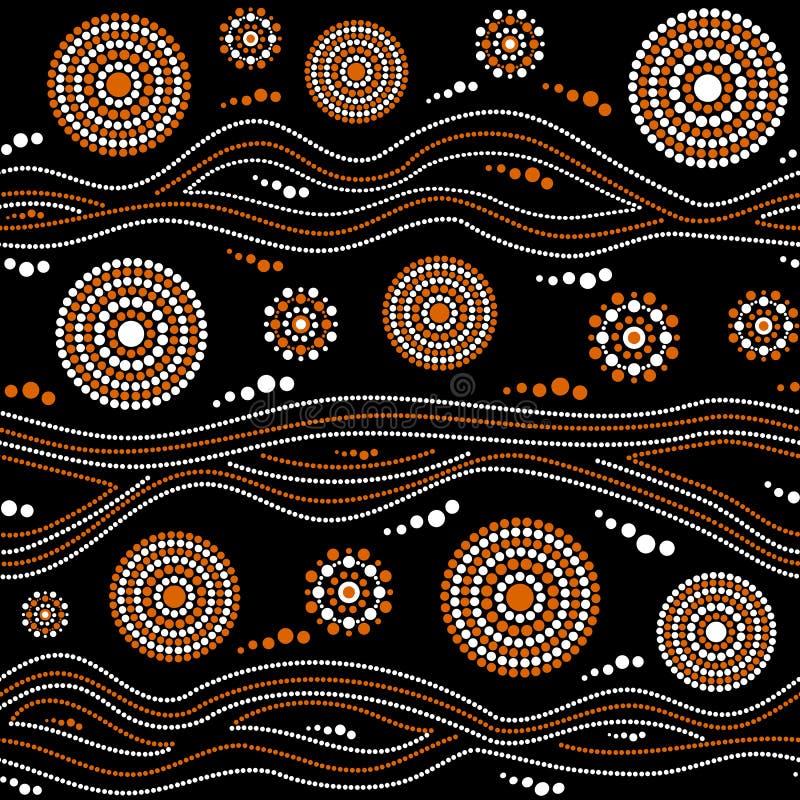 Australijski tubylczy bezszwowy wektoru wzór z kropkowanymi okręgami, pierścionkami i zaginającymi lampasami, ilustracja wektor