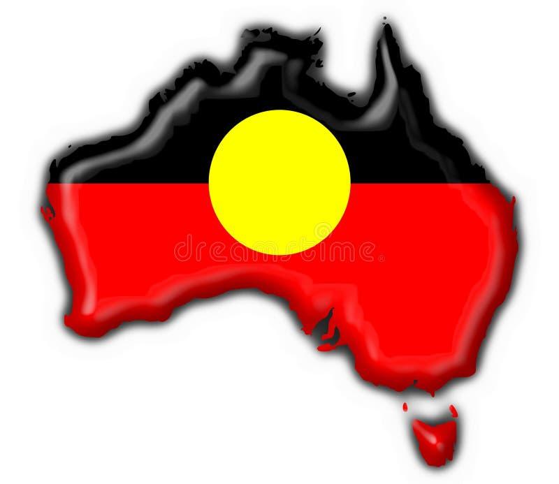 australijski tubylczy button flagi mapy kształt royalty ilustracja