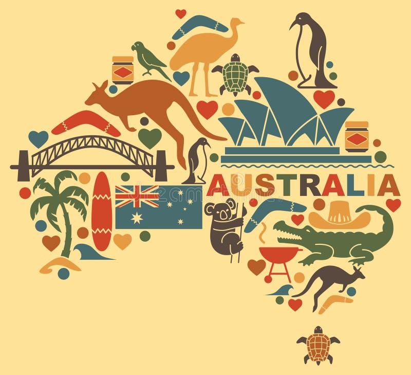 Australijskie ikony w postaci mapy ilustracji