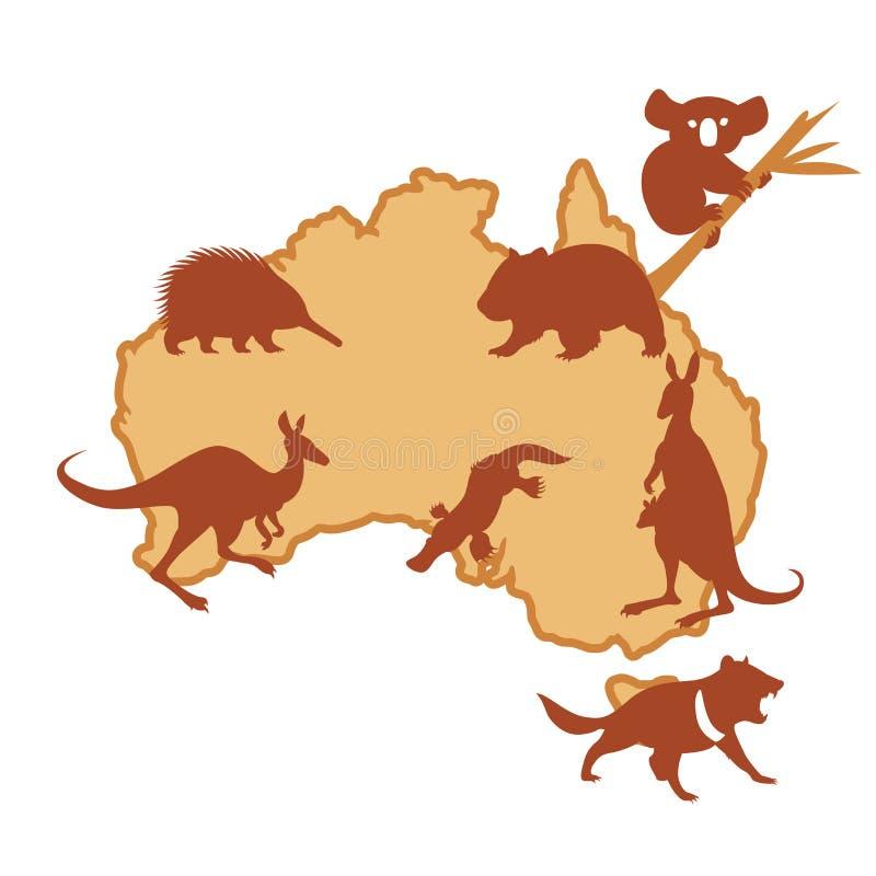 Australis med djur royaltyfri illustrationer