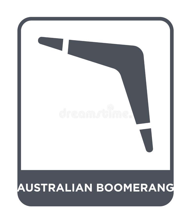 Australisch boemerangpictogram in in ontwerpstijl Australisch die Boemerangpictogram op Witte Achtergrond wordt geïsoleerd Austra stock illustratie