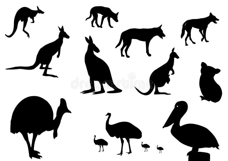 Australisch dierensilhouet stock illustratie