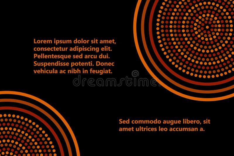 Australisch inheems geometrisch de bannermalplaatje van kunst concentrisch cirkels in oranje bruin en zwarte, vector vector illustratie