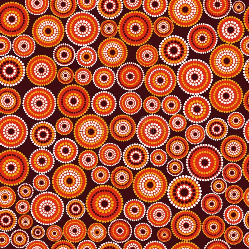 Australisch inheems naadloos vectorpatroon met gestippelde cirkels stock afbeeldingen