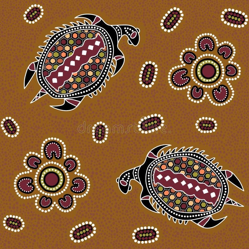 Australisch inheems naadloos vectorpatroon met gestippelde cirkels, ovalen, schildpadden en andere elementen stock fotografie