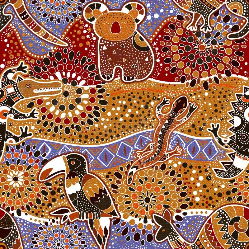 Australisch naadloos patroon stock illustratie