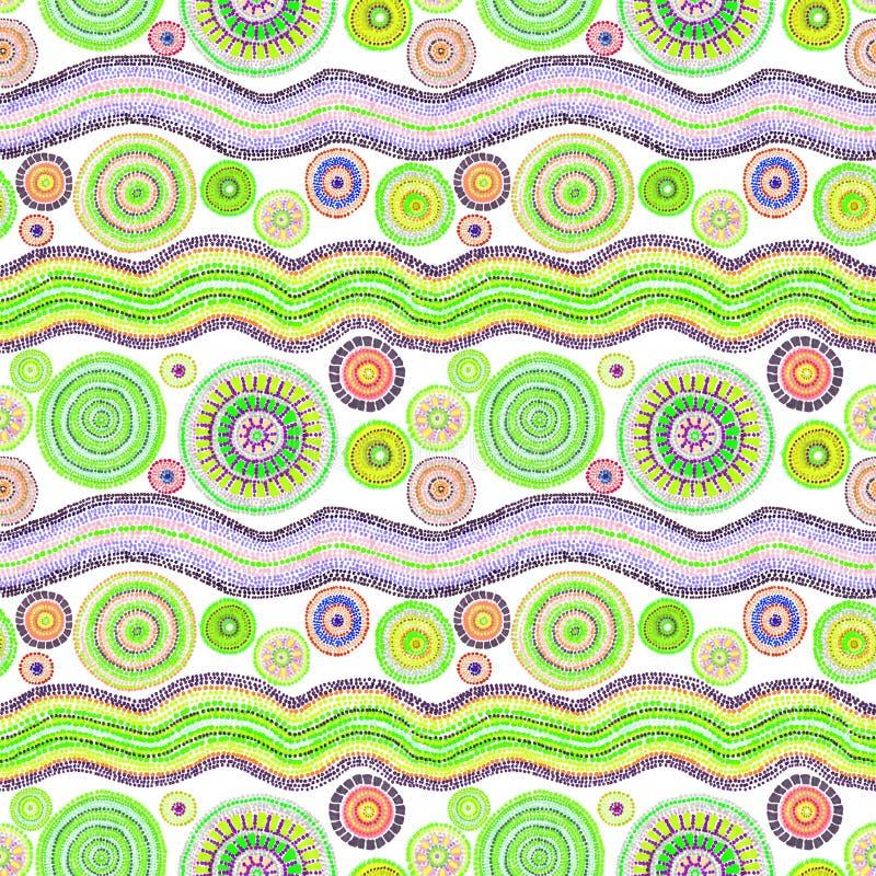Australisch ontwerp met punten, cirkels en golven Naadloos patroon Hand het schilderen royalty-vrije illustratie