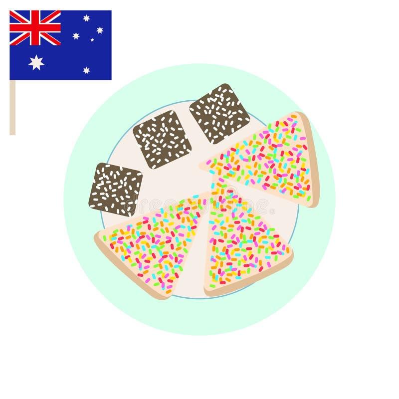 Australisch partij zoet voedsel Van de Lamingtoncake en fee de vector van het broodbeeldverhaal royalty-vrije illustratie