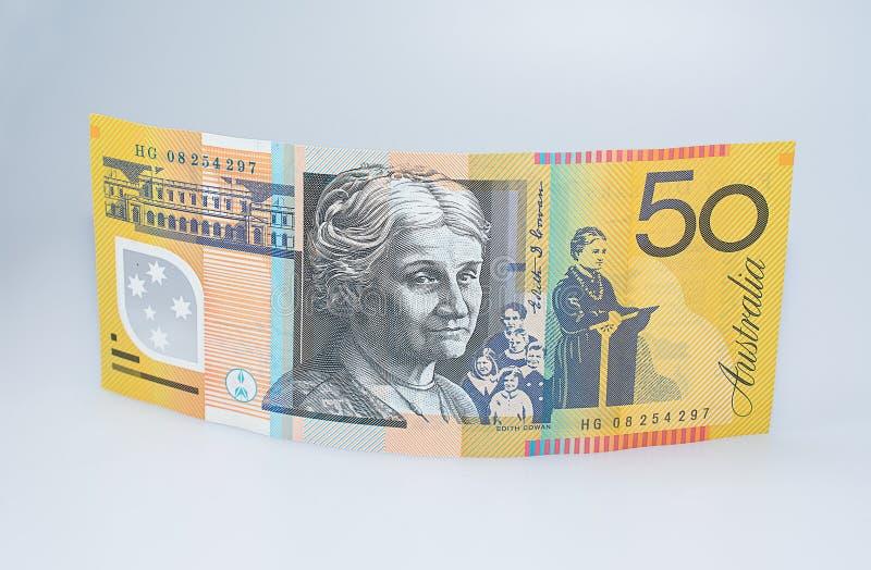Australisch Vijftig Dollarbankbiljet die opstaan royalty-vrije stock fotografie