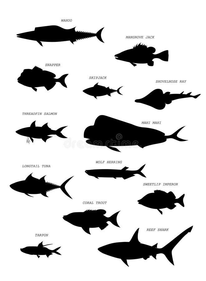 Australisch vissensilhouet Beeldverhaal polair met harten royalty-vrije illustratie