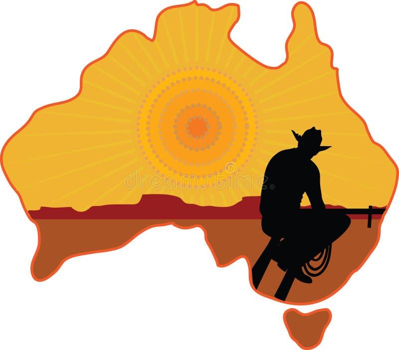 Australische Cowboy stock illustratie