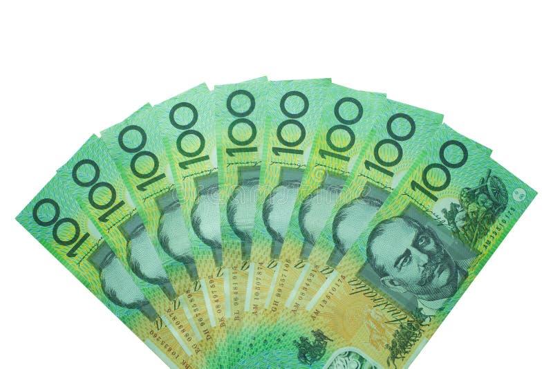 Australische dollar, het geld van Australië 100 dollar bankbiljettenstapel op witte achtergrond royalty-vrije stock fotografie