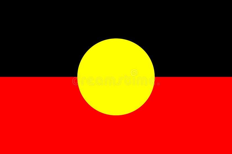 Australische eingeborene Flagge Ursprüngliche und einfache eingeborene Flagge lokalisierter Vektor in den offiziellen Farben und  lizenzfreie abbildung