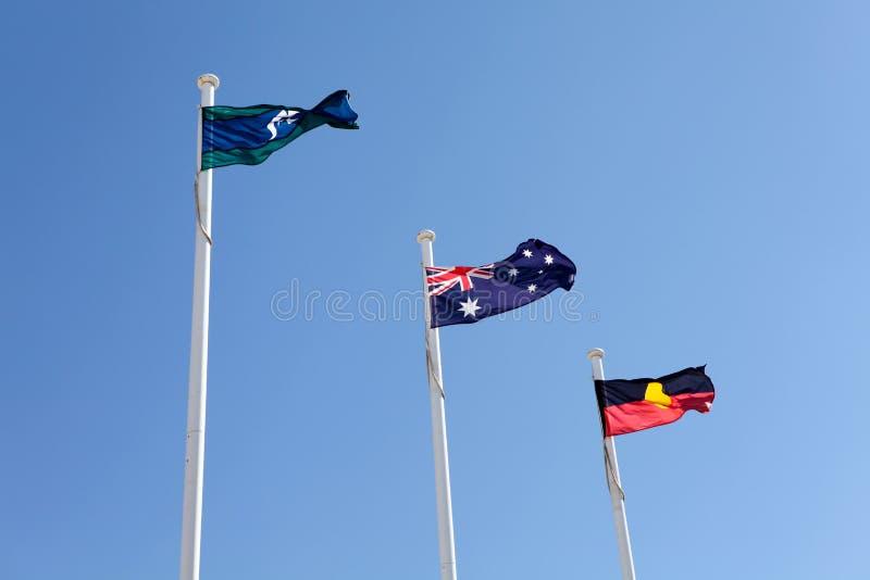 Australische eingeborene Torres Straße-Markierungsfahnen lizenzfreies stockfoto