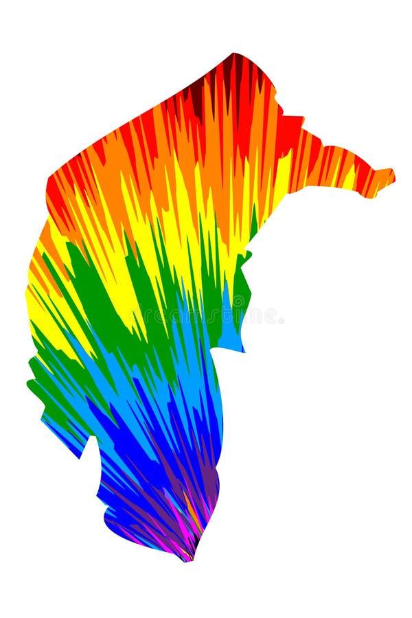 Australische Hauptstadt Gebiets-australische Staaten und Gebiete, TAT, Bundeshauptstadt-Gebietskarte ist entworfene Regenbogenzus vektor abbildung