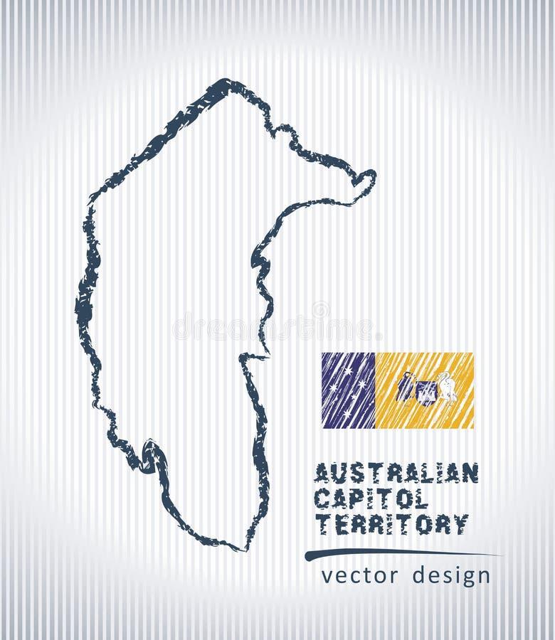 Australische Hauptstadt-Gebietsvektor-Kreidezeichnungskarte lokalisiert auf einem weißen Hintergrund lizenzfreie abbildung