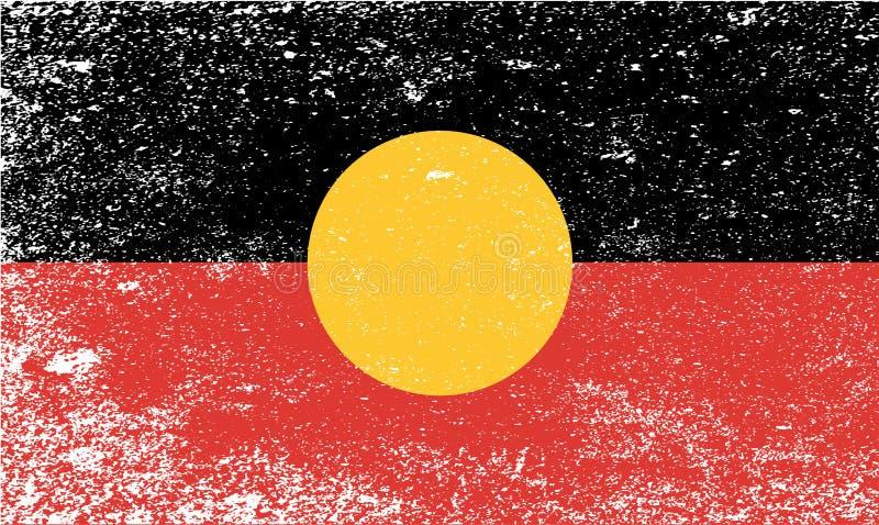 Australische Inheemse Grunge-Vlag vector illustratie