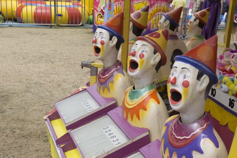 Australische kermisterreinaantrekkelijkheid 'Lachende Clowns' 2015 stock foto