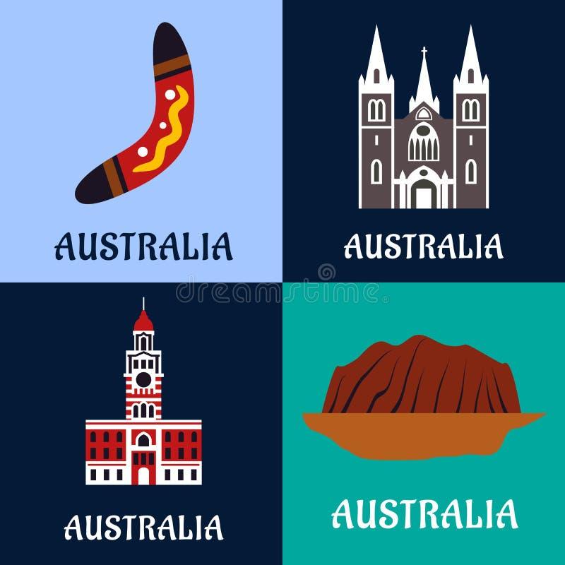 Australische ladscape und der Architektur flache Ikonen stock abbildung