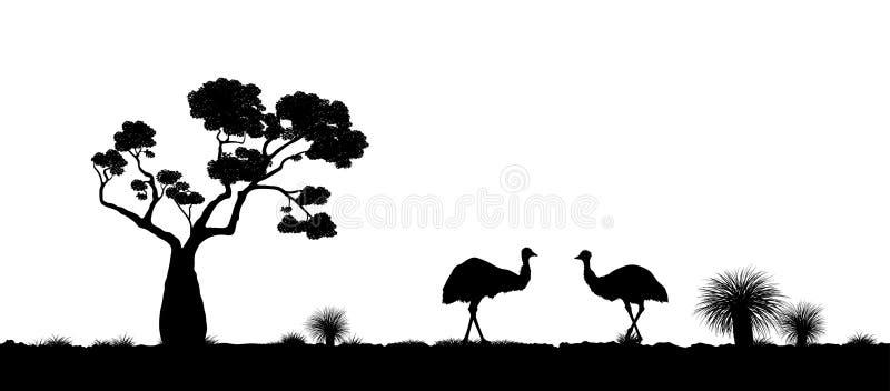 Australische Landschaft Schwarzes Schattenbild des Emustraußes auf weißem Hintergrund Die Beschaffenheit von Australien vektor abbildung