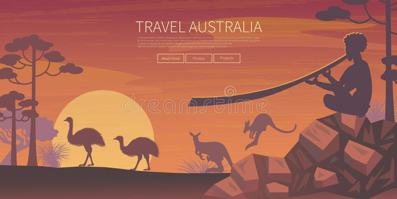 Australische landschapsaffiche royalty-vrije illustratie